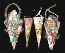 Lot of 4: Paper Candy Cornucopia Tree Ornaments.