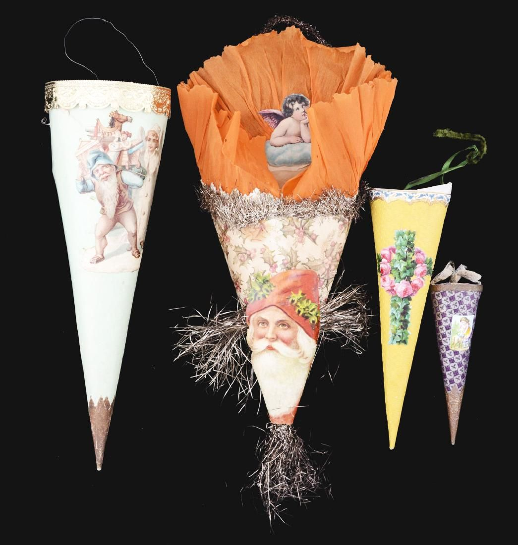Lot of 4: Paper Cornucopia Tree Ornaments.