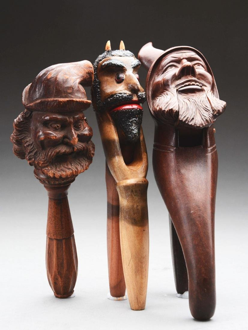 Lot Of 3: Carved Wooden Nut Crackers.