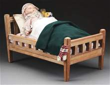 Composition Doll In Bed With Teddy Bear