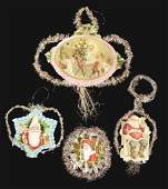 Lot of 4: Tinsel, Diecut and Scrap Christmas Ornaments.