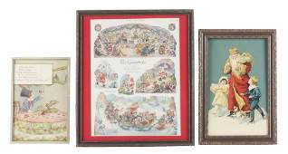 Lot of 3 Framed Christmas Prints  DieCut