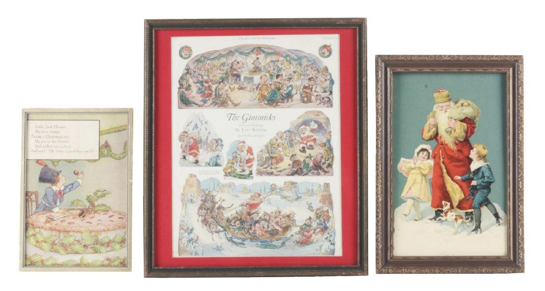 Lot of 3: Framed Christmas Prints & Die-Cut.