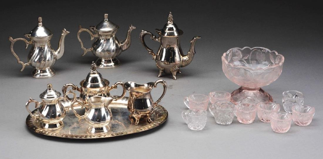 Lot of 2: Miniature Silver Plated Tea Sets & Glass