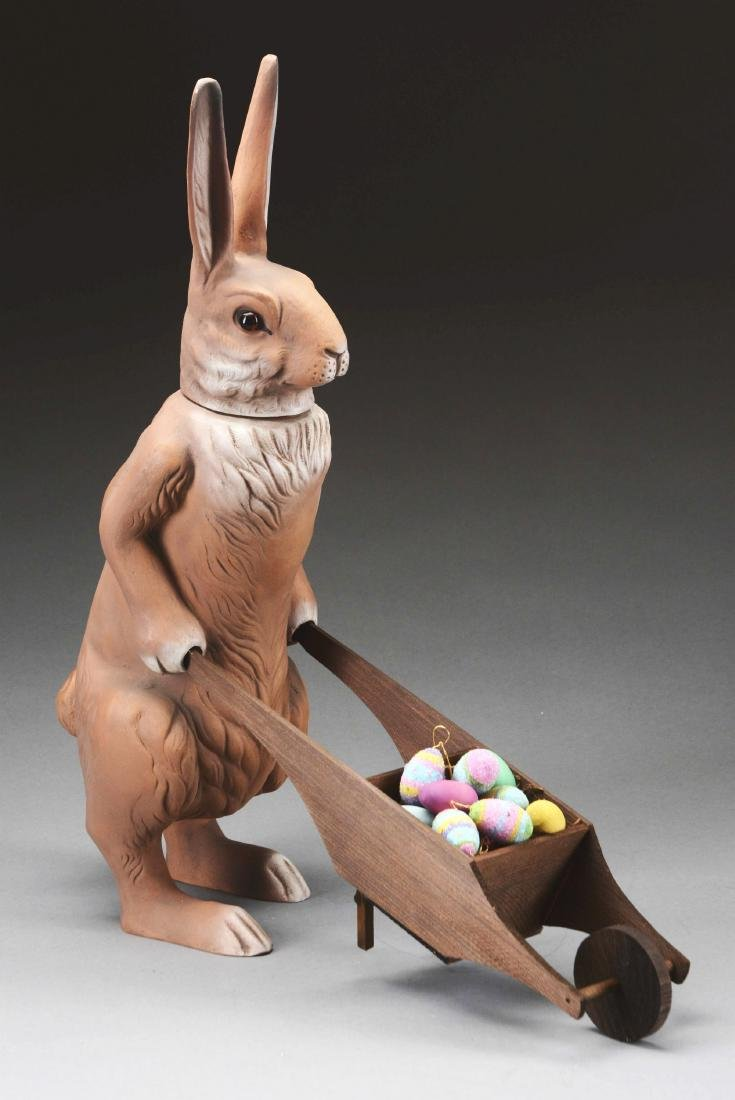 Marolin Paper Mache Easter Bunny With Wheelbarrow.