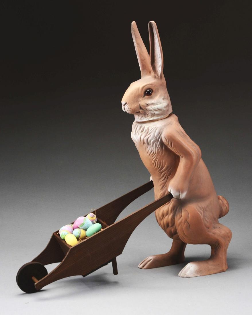 Marolin Paper Mache Easter Bunny With Wheelbarrow. - 2
