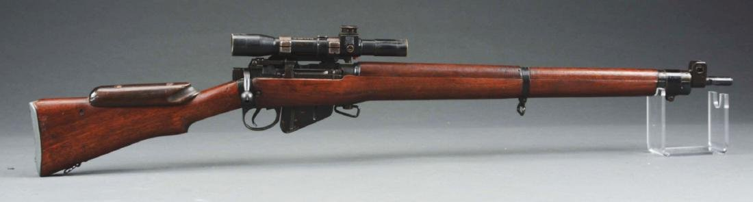 (C) Cased Enfield Bolt Action Sniper Rifle.