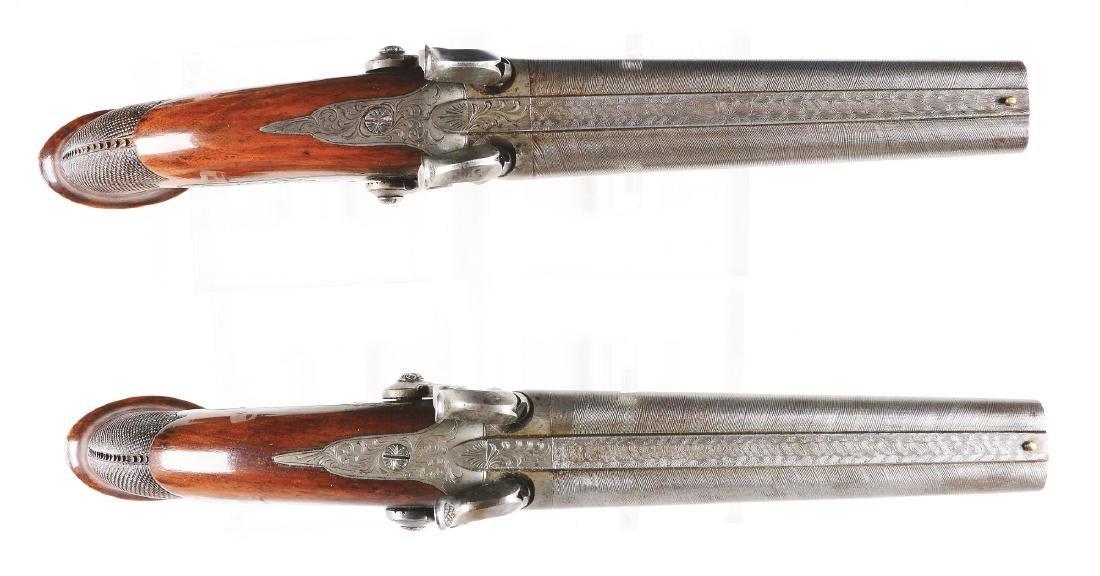 (A) Good & Elaborate Cased Set of Double Barrel Belgian - 4