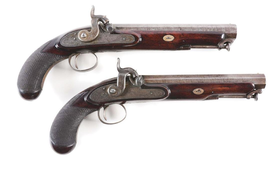 (A) Cased Pair of English Percussion Officer's Pistols - 3
