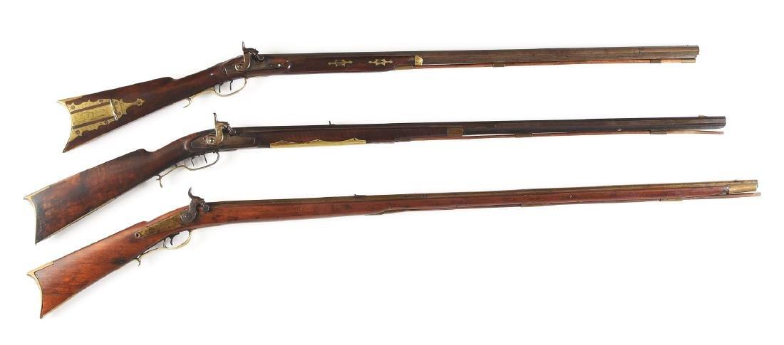 (A) Lot of 3 Long Percussion Rifles