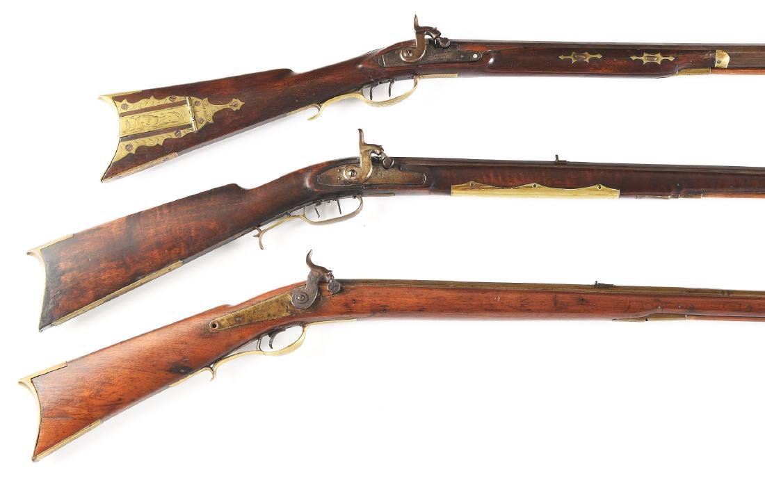 (A) Lot of 3 Long Percussion Rifles - 2