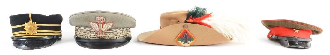 Lot Of 4: Italian General's, Japanese & Rhodesian Caps.