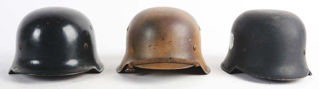Lot of 3: German WWII Civil & Military Helmets.