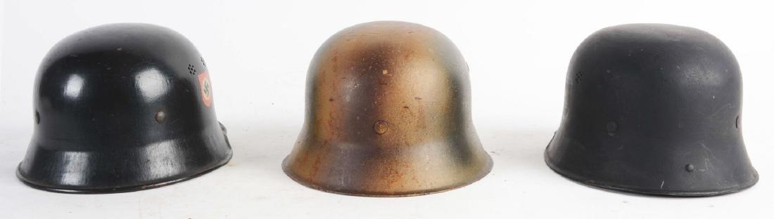 Lot of 3: German WWII Civil & Military Helmets. - 4
