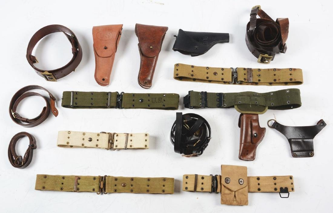 Lot Of 13: WWI & WWII U.S. Military Belts & Holsters.