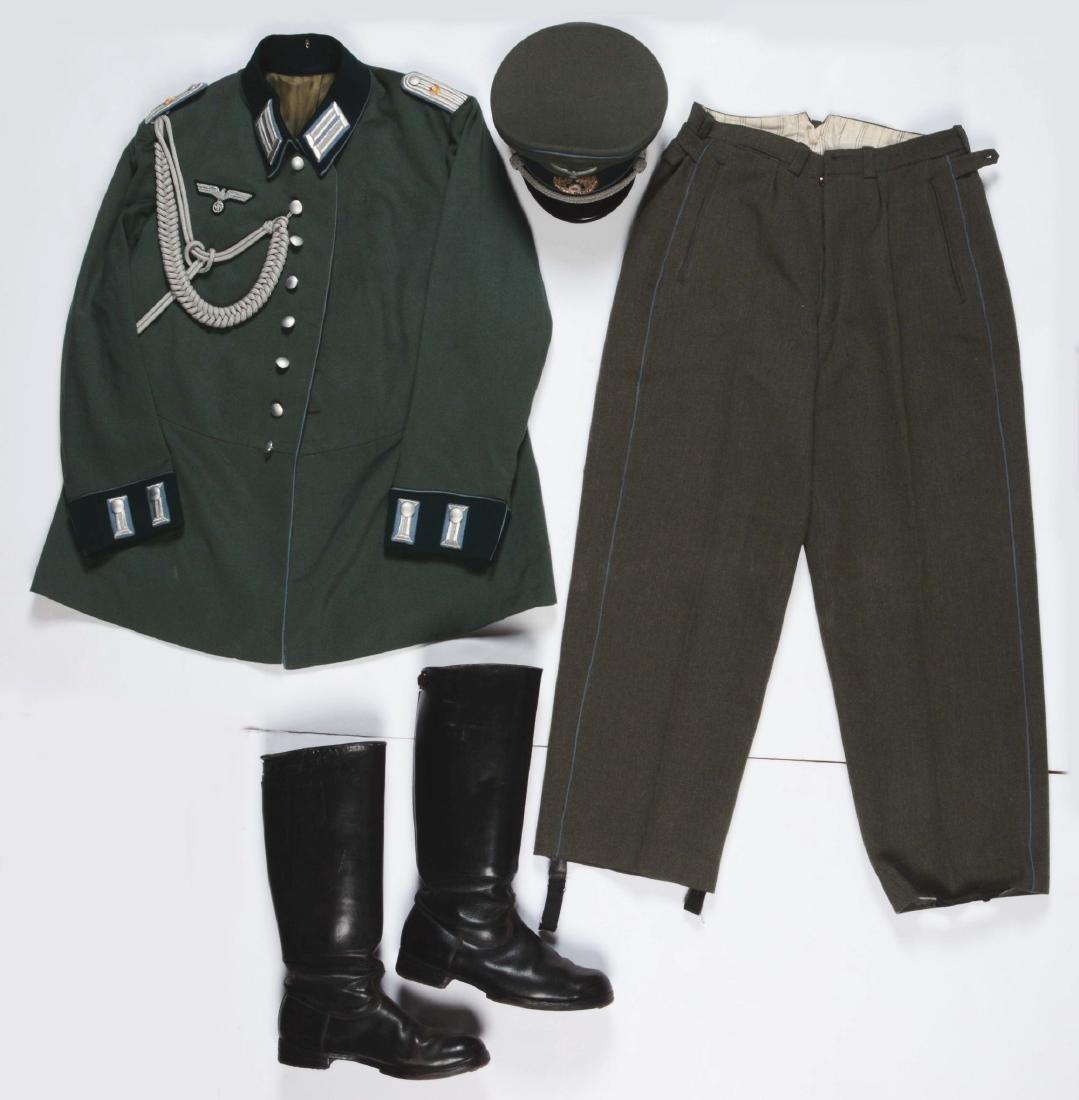 Lot of 4: German WWII Heer Officers Dress Tunic, Visor