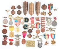 Large Lot Of GAR Medals Pins  Buckles