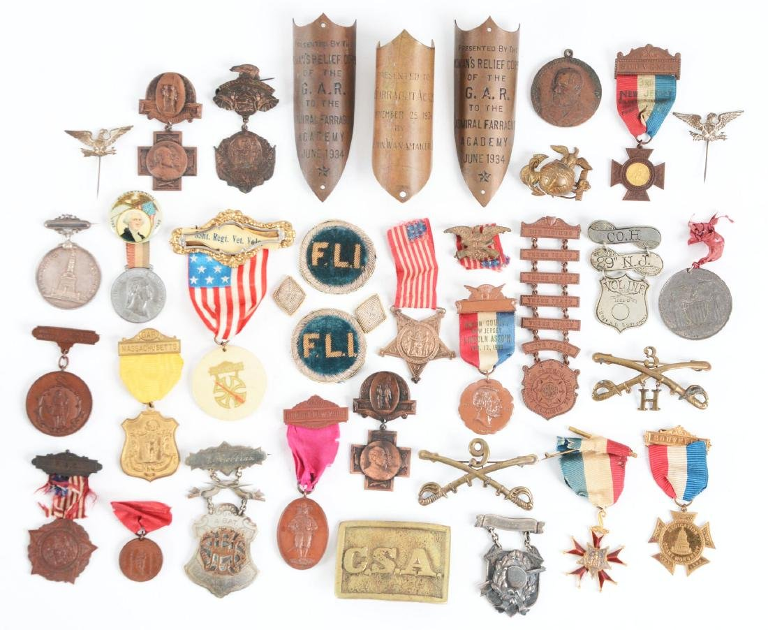 Large Lot Of G.A.R. Medals, Pins & Buckles.
