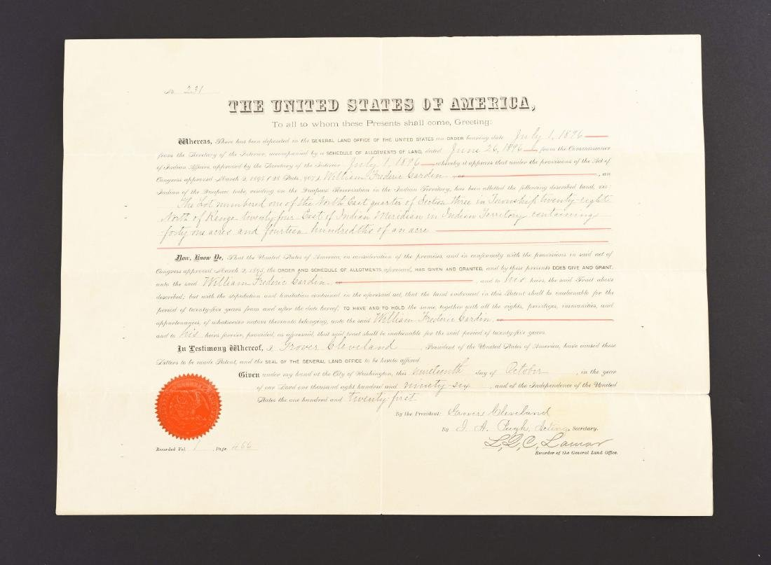 INDIAN TERRITORY LAND GRANT SIGNED BY PRESIDENT GROVER