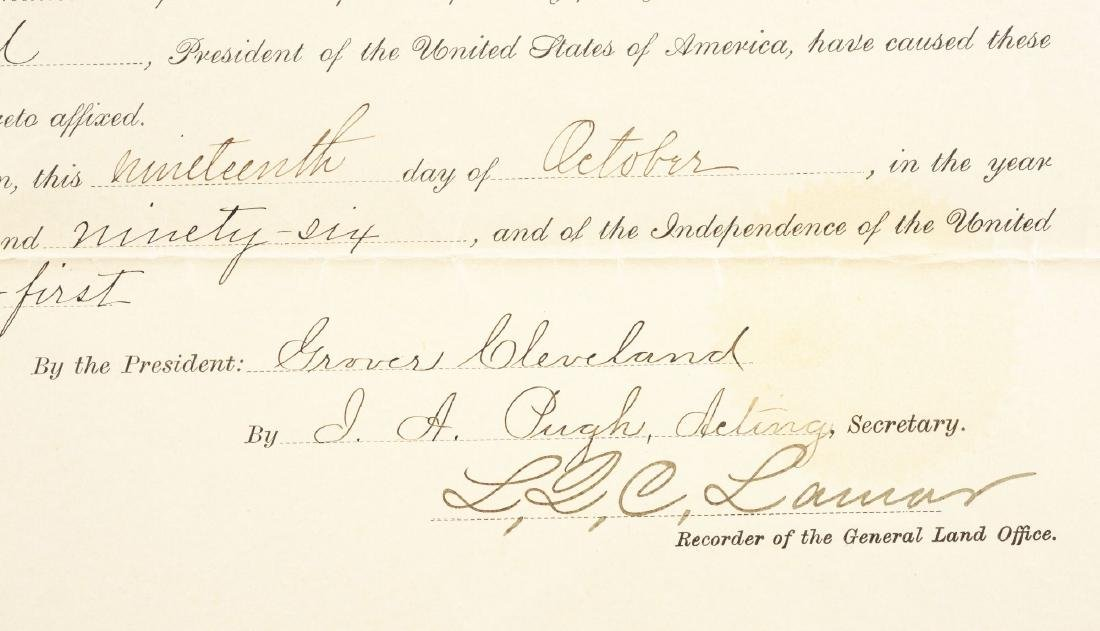 INDIAN TERRITORY LAND GRANT SIGNED BY PRESIDENT GROVER - 2
