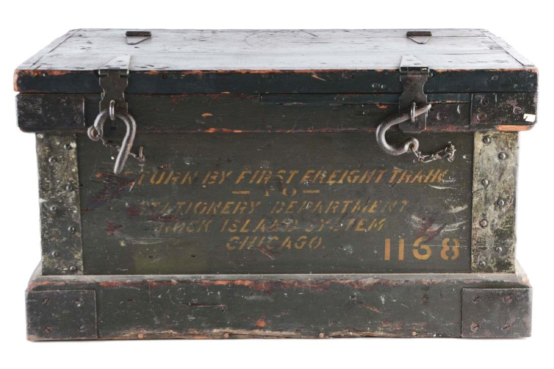 Freight Wooden Trunk with Original Hardware.