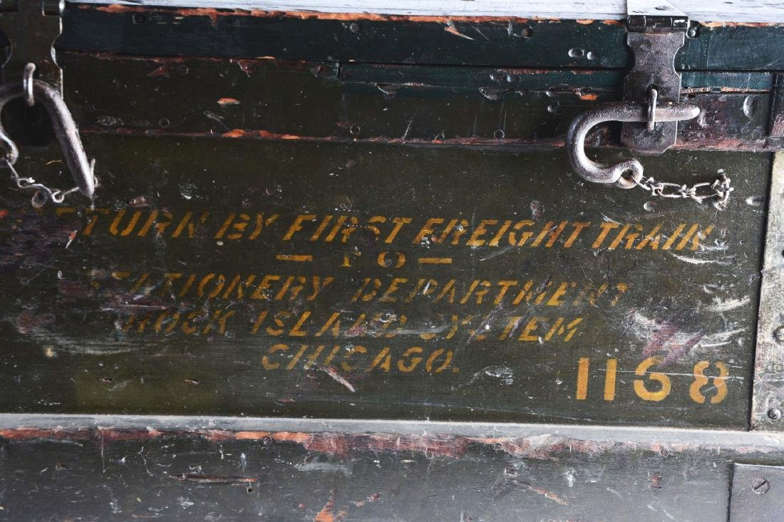 Freight Wooden Trunk with Original Hardware. - 2