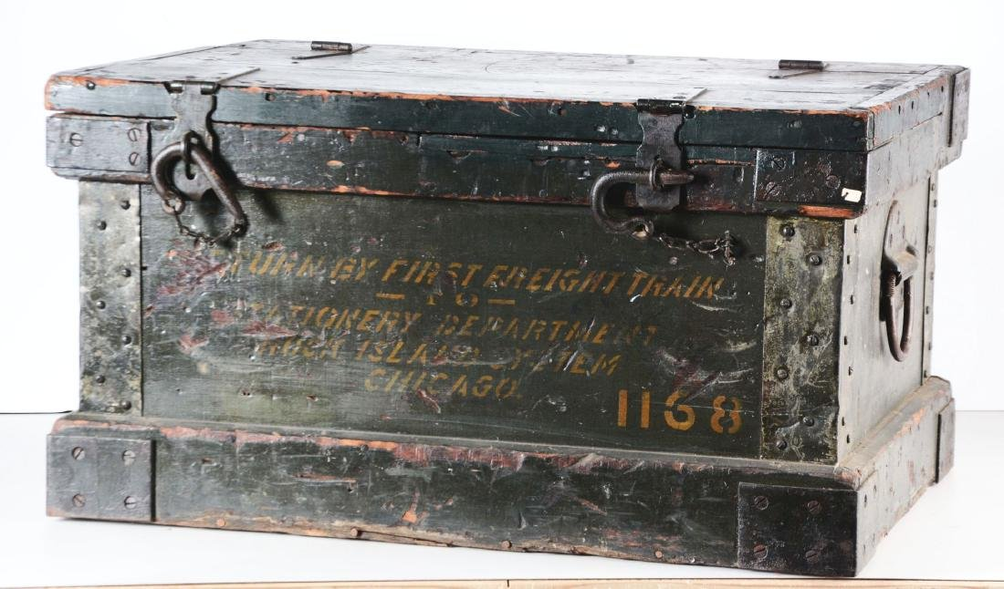 Freight Wooden Trunk with Original Hardware. - 3