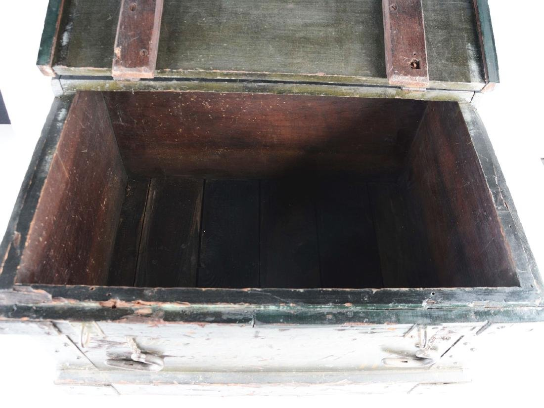 Freight Wooden Trunk with Original Hardware. - 4