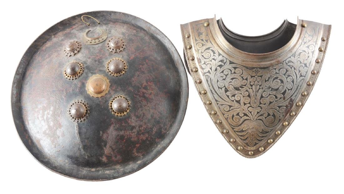 Lot of 2: 19th Century Indian Leather Shield Together