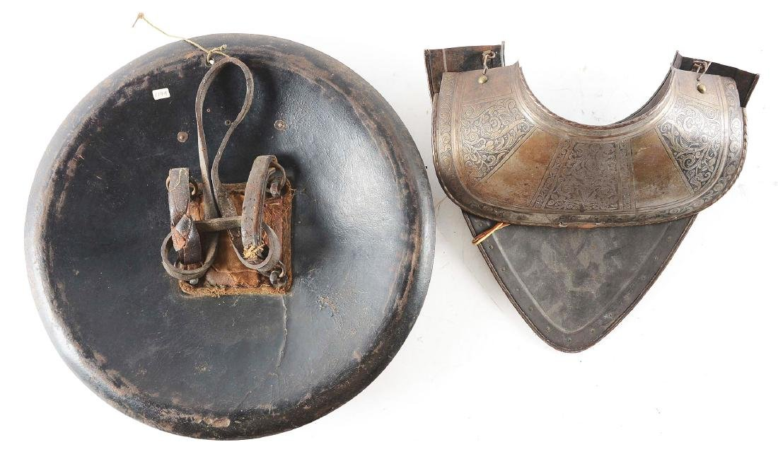 Lot of 2: 19th Century Indian Leather Shield Together - 2