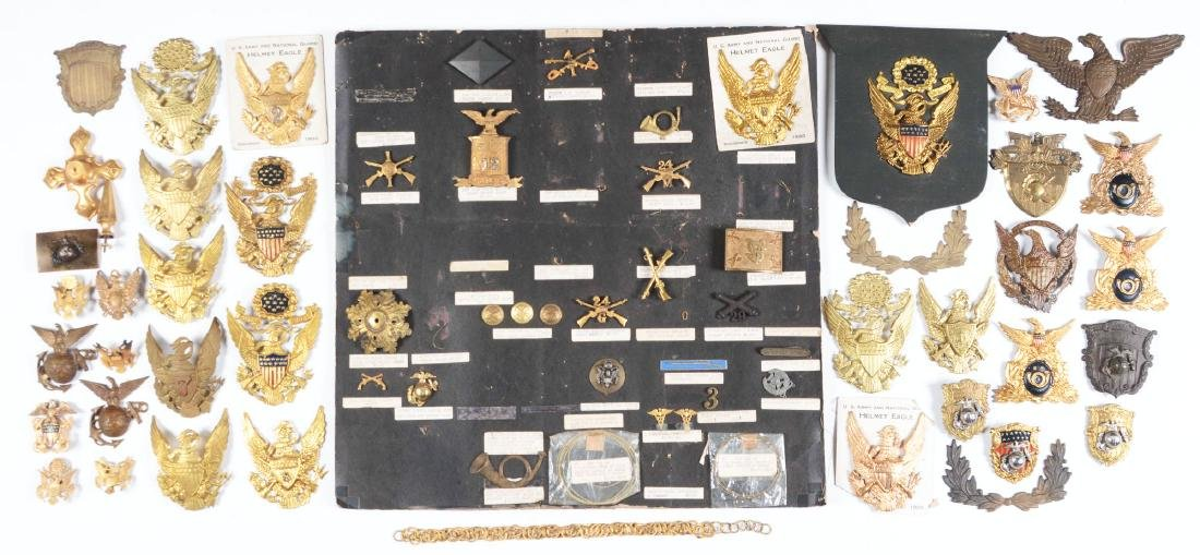 Large Lot Of American 1870-1920's Military Insignia.