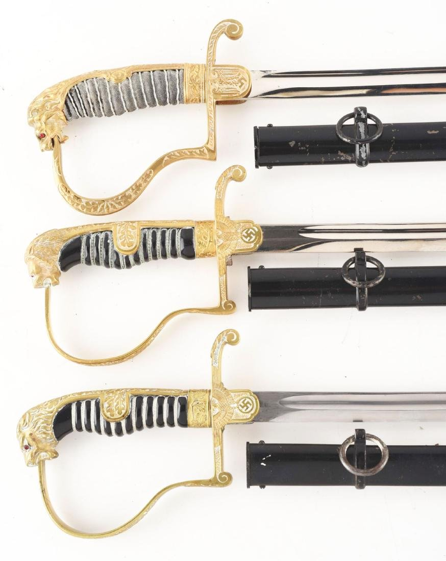 Lot of 3: Third Reich Lion Head Swords. - 2