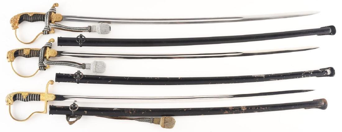 Lot of 3: Third Reich Lion Head Swords.