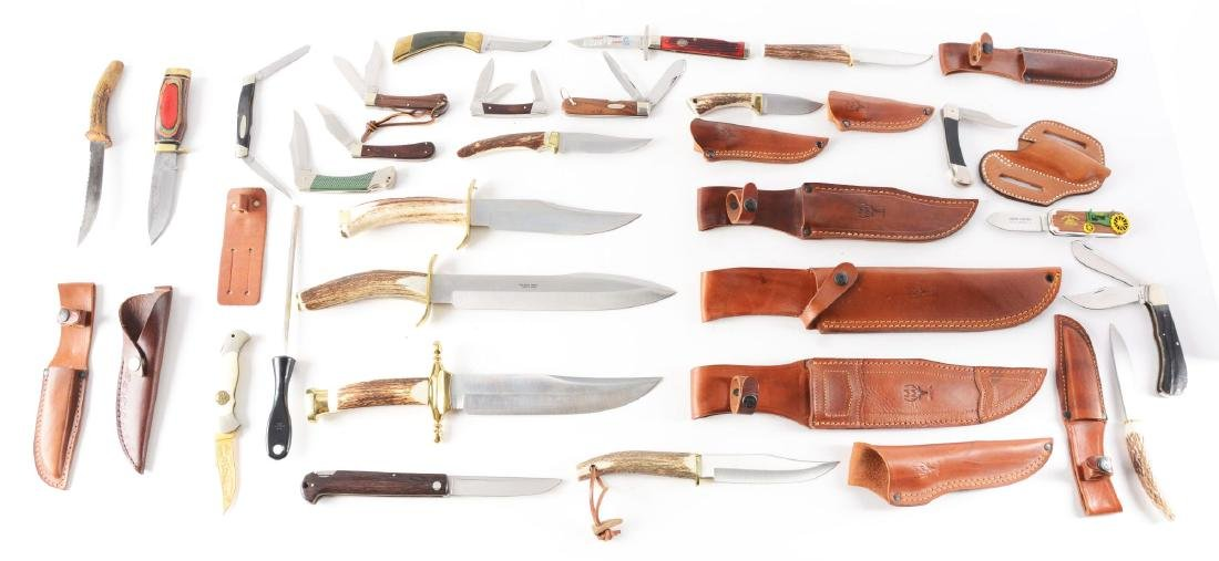 Lot of 9: Muela Stag Handled Fixed Blades & 13 Folders