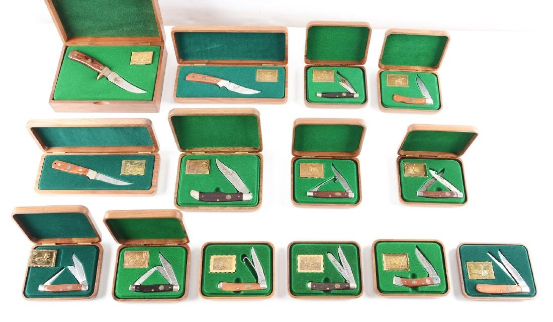 Lot of 14: Schrade Cutlery Co. Factory Hardwood Boxed