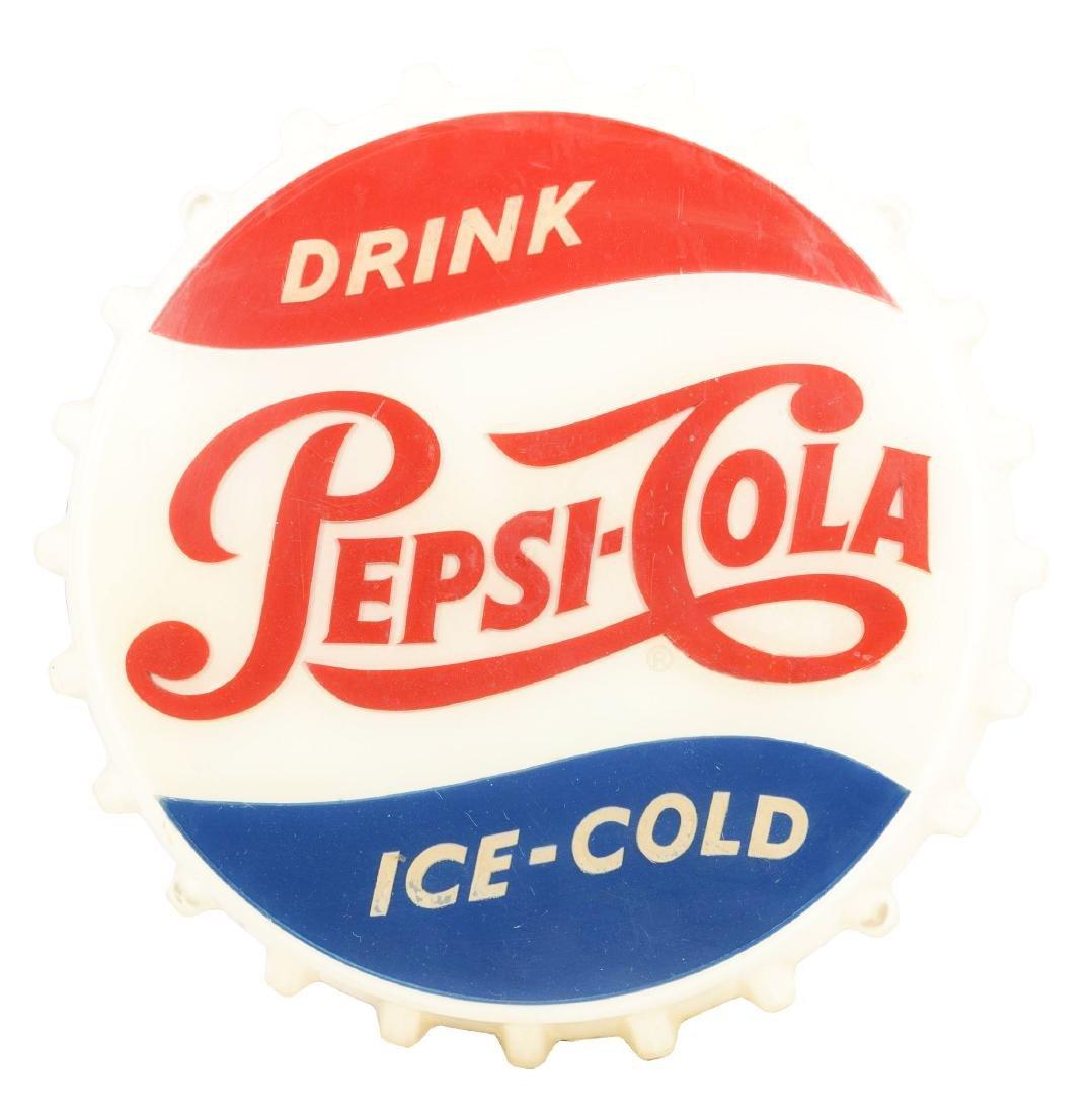 Pepsi-Cola Plastic Bottle Cap Light Up Sign.