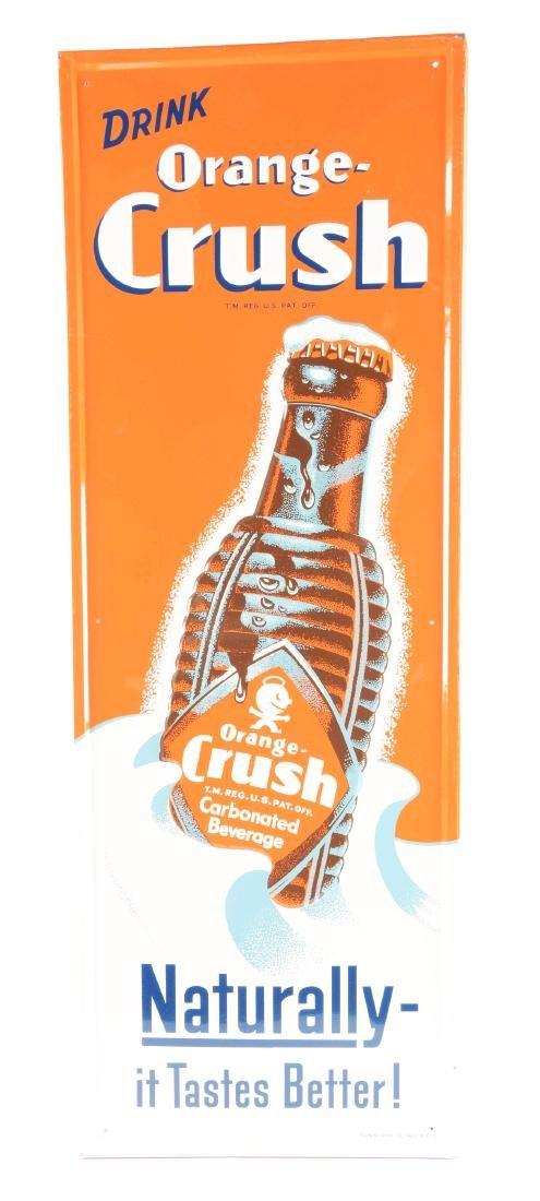 Orange Crush Self-Framed Embossed Tin Advertising Sign.