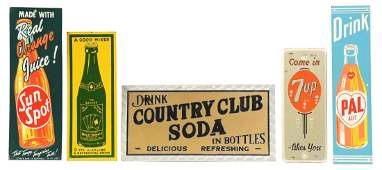 Lot Of 5 Tin Soda Advertising Signs