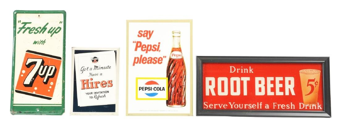 Lot Of 4: Soda Advertising Signs.