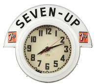 Cleveland Neon Clock with 7Up Marque