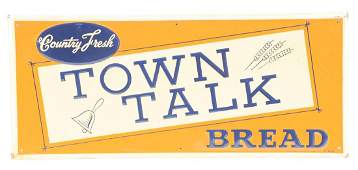 Town Talk Bread Embossed Tin Advertising Sign