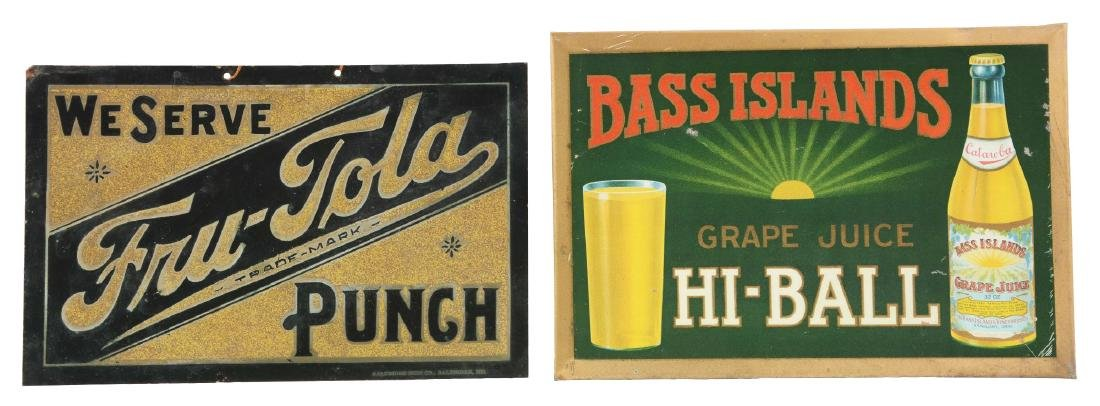 Lot Of 2: Bass Islands And Fru-Tola Advertising Signs.