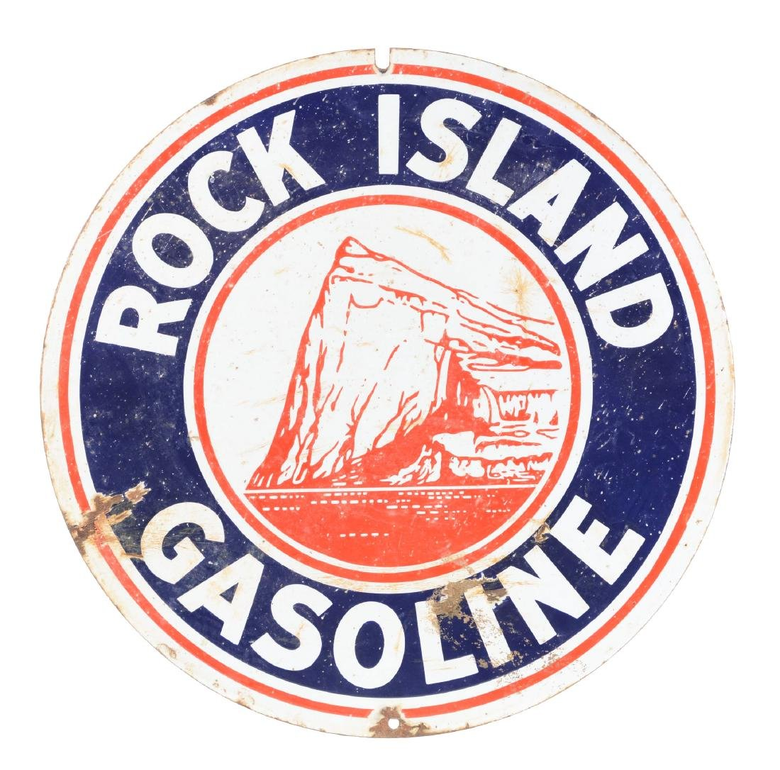 Rock Island Gasoline Double Sided Porcelain Sign.