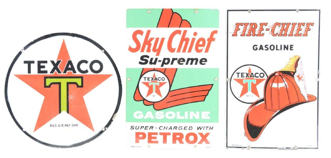 Lot of 3: Texaco Porcelain Signs.
