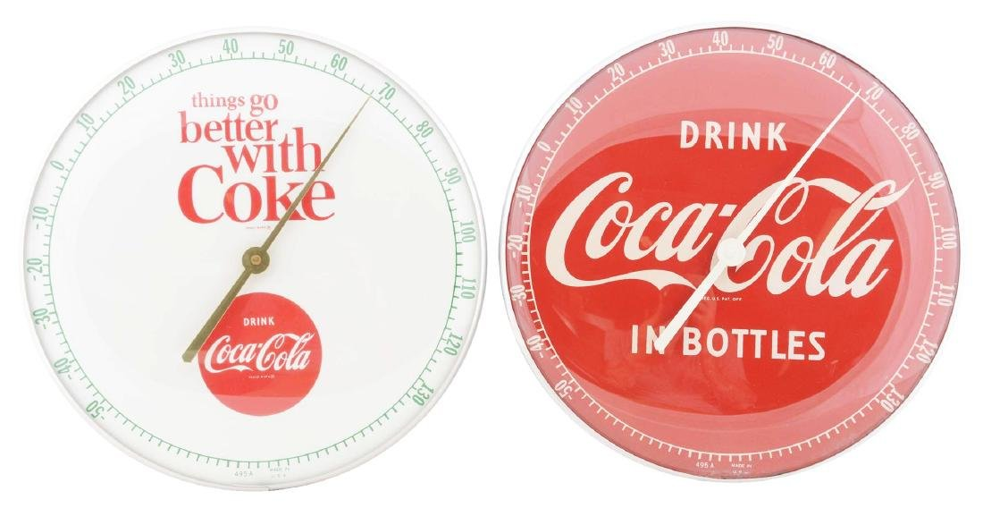 Lot of 2: Coca-Cola Pam Style Thermometers.