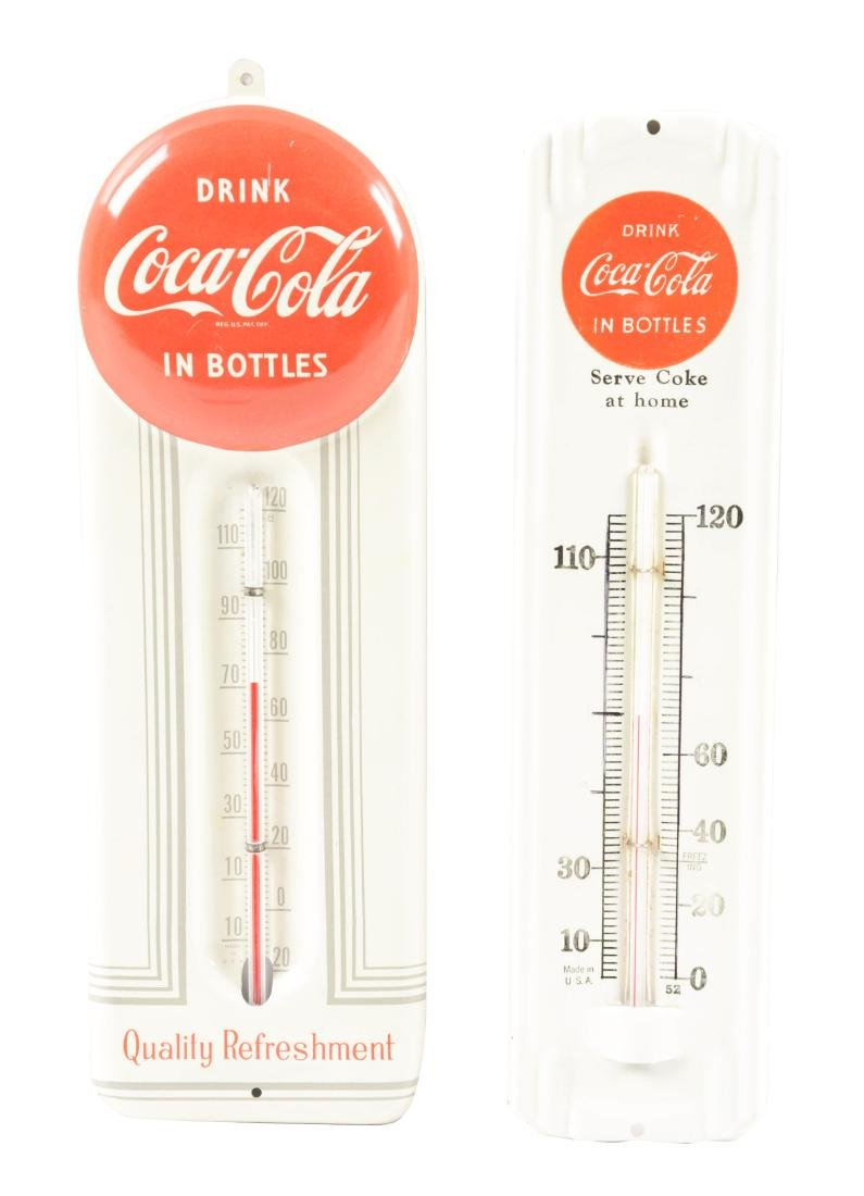 Lot Of 2: Coca-Cola Tin Thermometers.