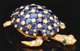 18K Gold Tiffany & Co. Sapphire & Diamond Turtle