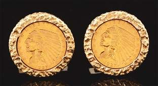 Pair Of 14K Yellow Gold Cuff Links with $5 Coin.