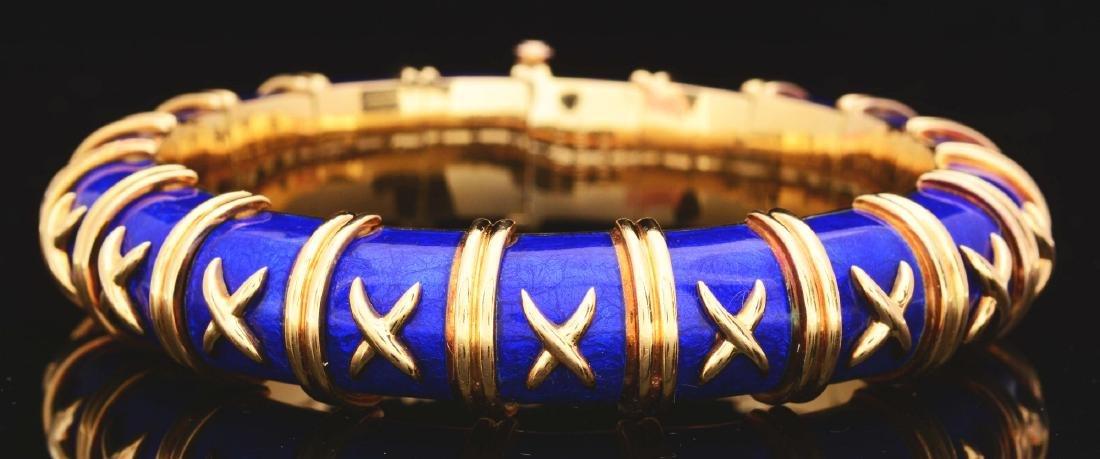 "18K Gold Tiffany & Co. Schlumberger Blue Enamel ""X"""