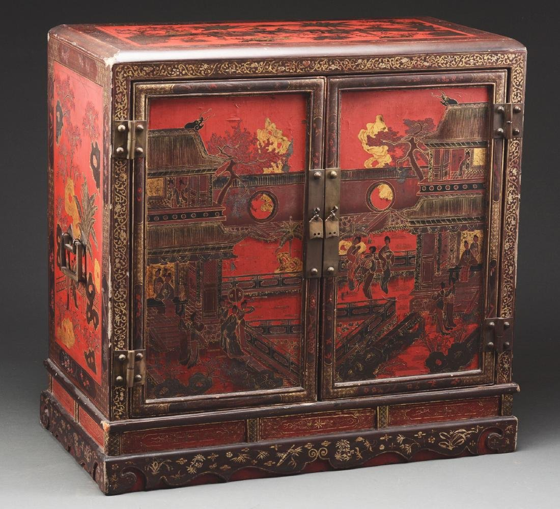 Chinese Lacquered Cabinet with Painting to Match. - 2
